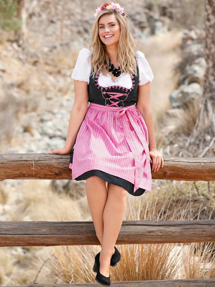 Sara Lindholm Dirndl mit kontrastfarbener Schürze, Schwarz/Pink