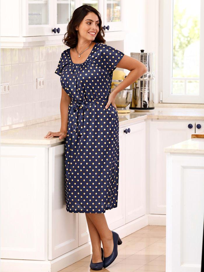 m. collection Jersey jurk met stippendessin, Marine
