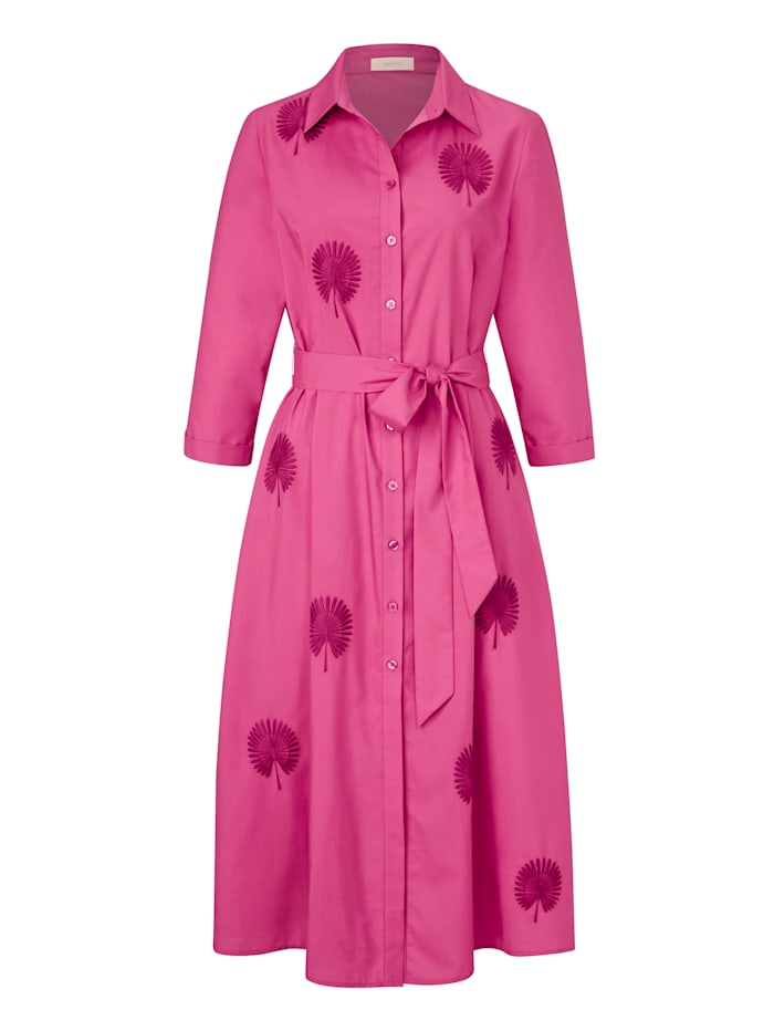 SIENNA Hemdblusenkleid mit floraler Stickerei, Pink