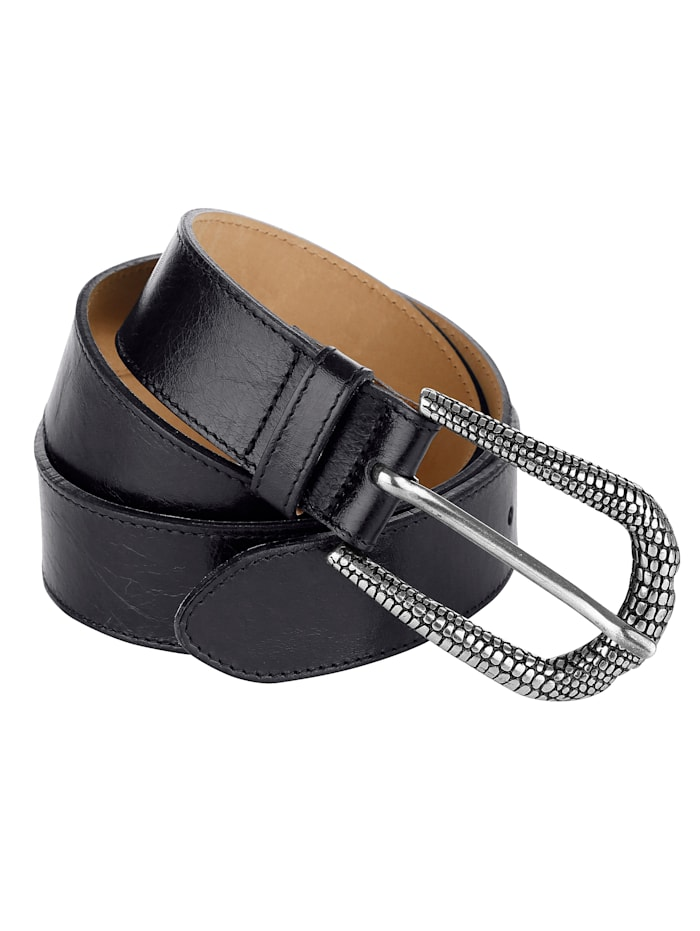 MONA Leather belt with embossed buckle, Black