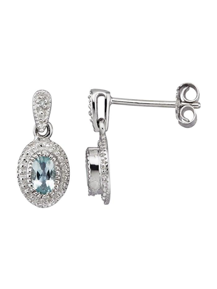 Oorstekers met aquamarijn en diamant, Blauw