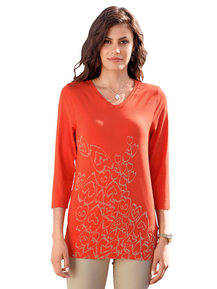 AMY VERMONT Shirt mit Muster im Vorderteil, Orange