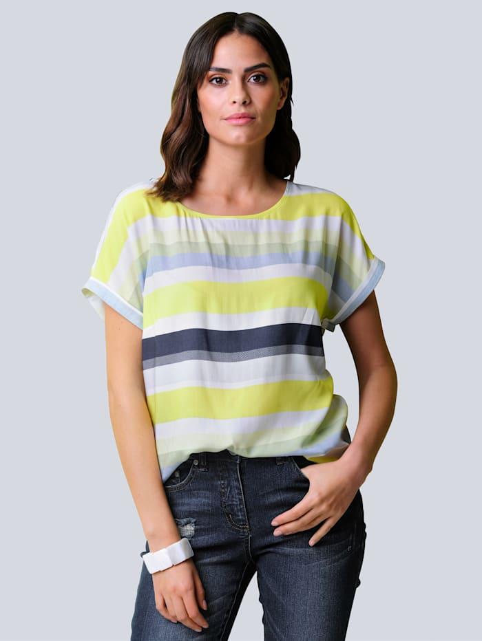 Alba Moda Bluse allover im großen Streifen-Dessin, Marineblau/Off-white/Limettengrün