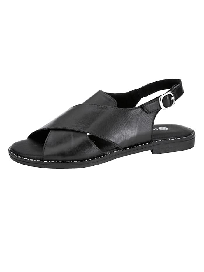 Remonte Sandaaltje met klittenband bij de hiel, Zwart