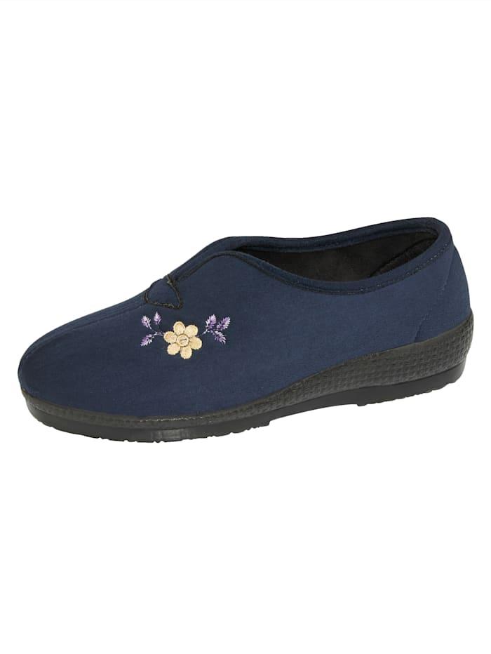 Belafit Pantoffel met bloemenapplicatie, Donkerblauw