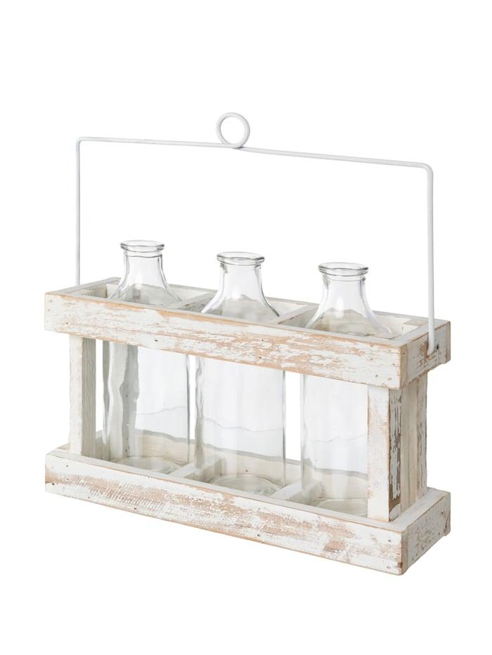 Creativ Deco Glasvasen in Holzbox, Weiß