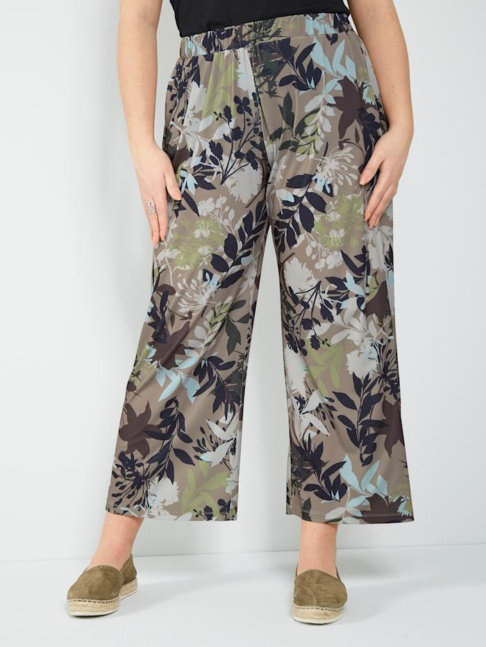 Sara Lindholm Jerseyhose mit floralem Dessin, Hellgrün/Taupe