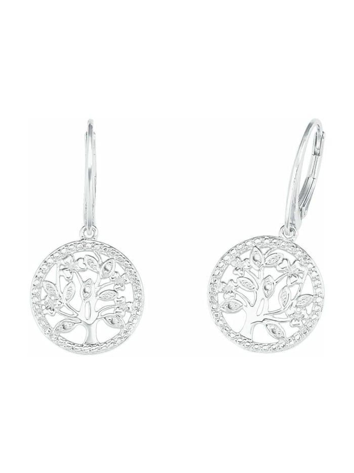 amor Ohrhänger für Damen, Sterling Silber 925, Zirkonia Lebensbaum, Silber