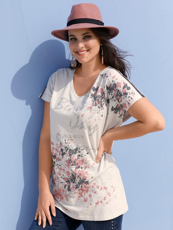 MIAMODA Shirt mit funkelnden Nieten an den Schultern, Beige/Grau/Rosé