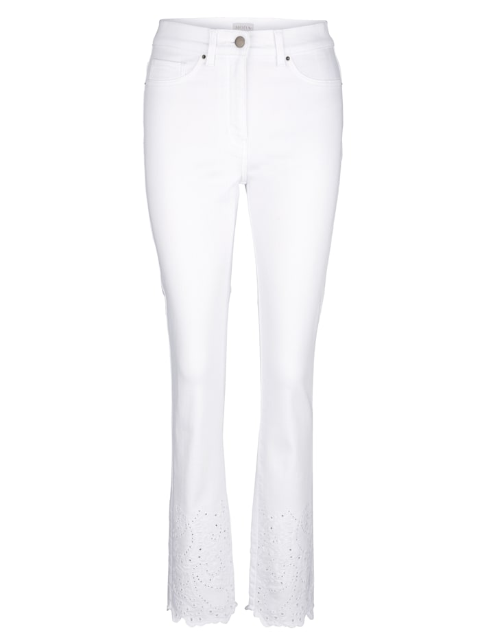 7/8-Jeans mit Madeirastickerei