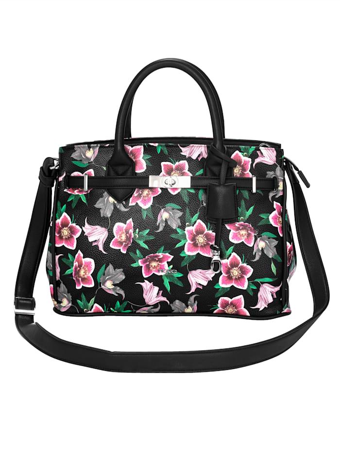 Picard Handväska med dekorband och vridlås, svart/flerfärgad