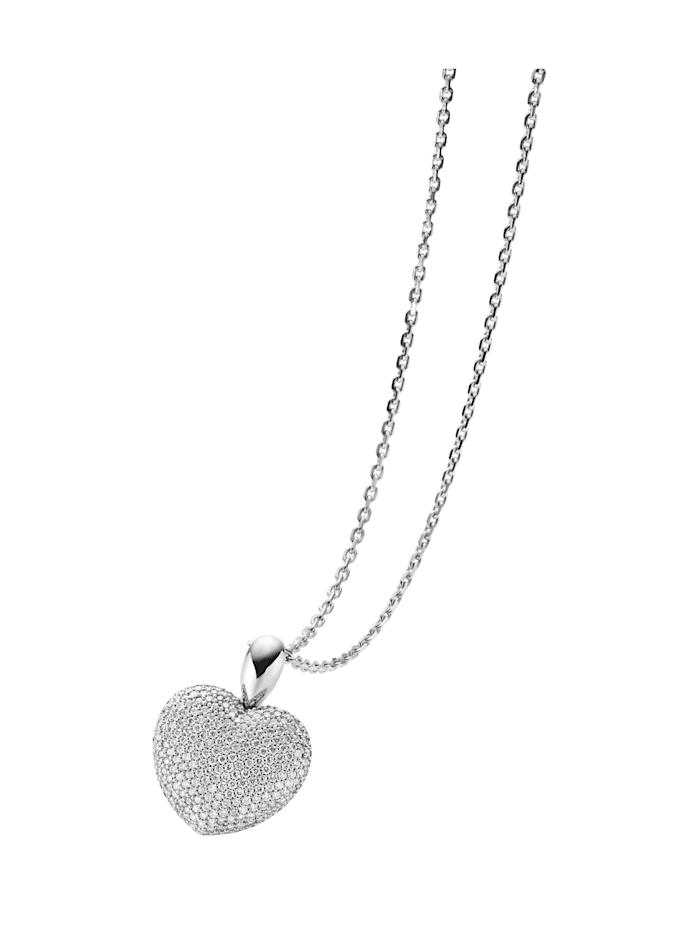 Diemer Diamant Hanger Hart met ketting, Wit