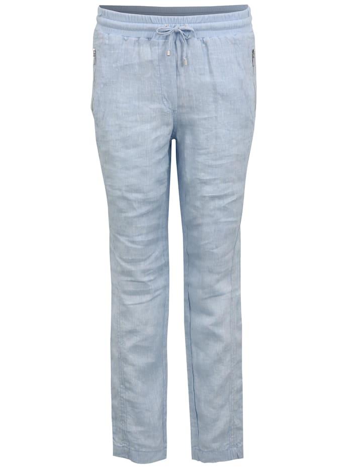 Doris Streich Leinenhose mit Reißverschlusstaschen, hellblau
