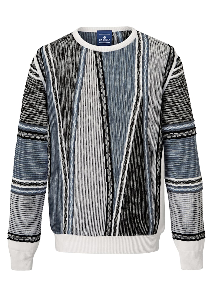 BABISTA Pull-over Durée tricotage: env. 4 heures, Blanc/Bleu
