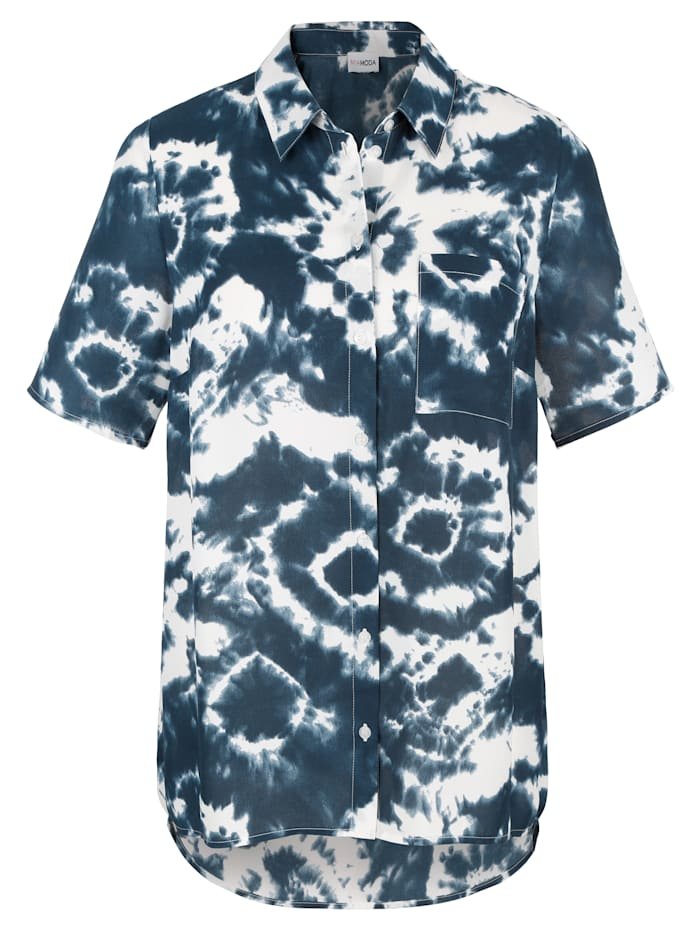 MIAMODA Blouse met modieuze batikprint, Blauw/Wit