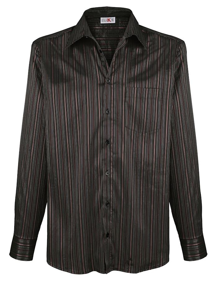 Roger Kent Overhemd met glanzende strepen, Zwart/Bordeaux