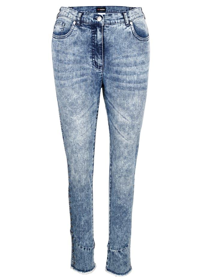 MIAMODA Jeans med frynser, Blue stone