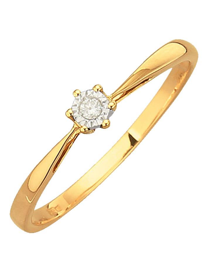 Bague dame à diamant, Coloris or jaune