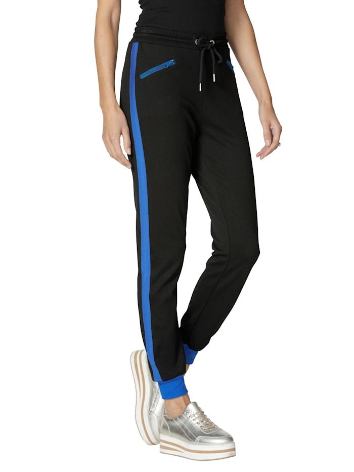 AMY VERMONT Sweatbroek met galonstrepen, Zwart/Royal blue
