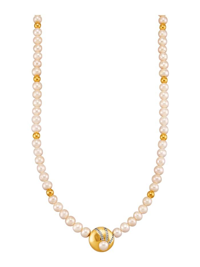 Amara Perles Collier en perles de culture d'eau douce à perles de culture d'eau douce et topazes blanches, Blanc