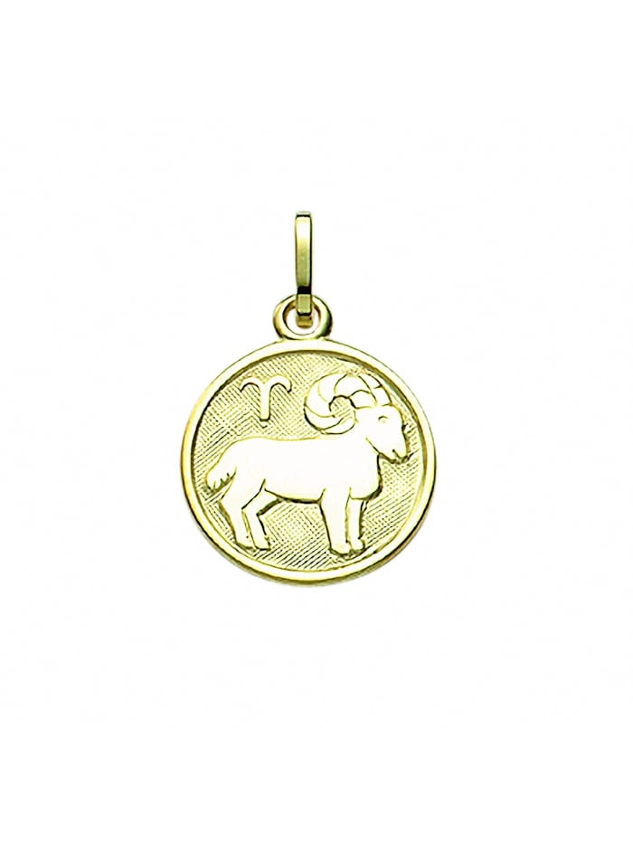 1001 Diamonds Damen & Herren Goldschmuck 333 Gold Sternzeichen Anhänger Widder Ø 11,8 mm, gold