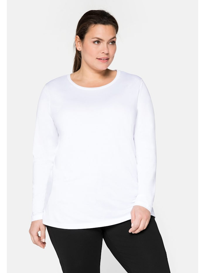 Sheego Sheego Funktions-Langarmshirt mit reflektierendem Rückendruck, weiß