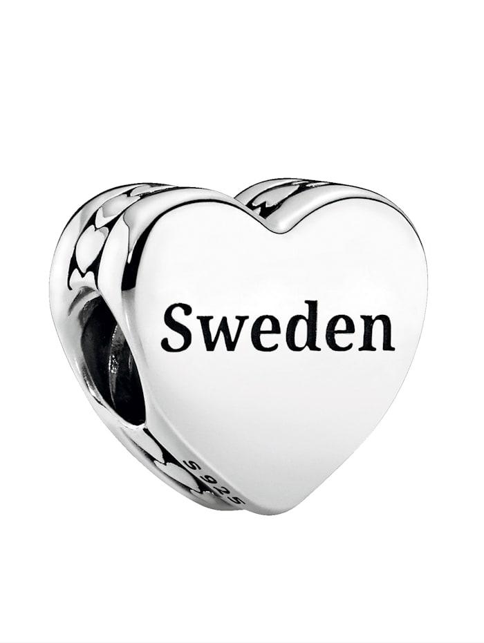 Pandora Charm -Schweden- Schriftzug Sweden und schwedisches Dalapferd 792015 E036, Silberfarben