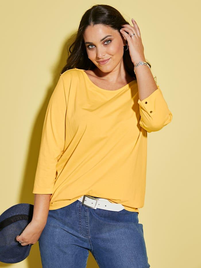 MIAMODA Shirt met vrouwelijke halslijn, Geel