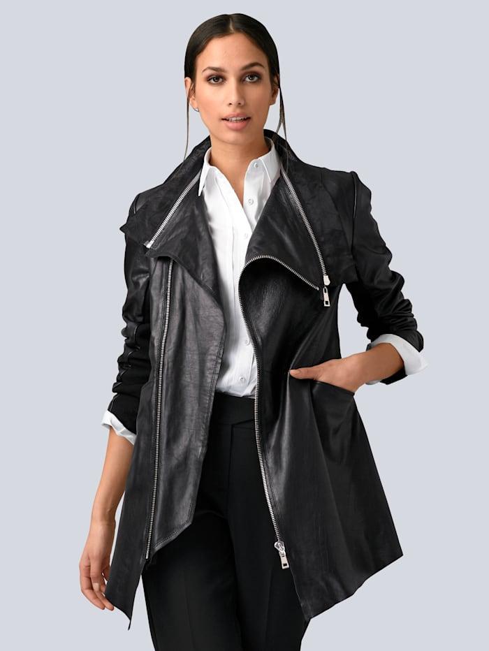 Alba Moda Leren jasje met beleg van chiffon, Zwart