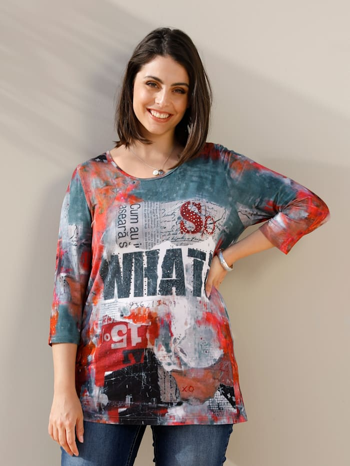 MIAMODA Tričko s dekoráciou z nitov, Multicolor