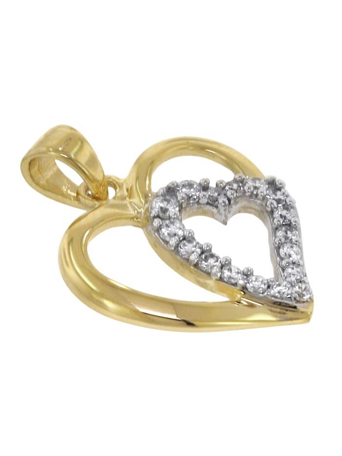 Herz-Anhänger 333 Gold + vergoldete Silberkette