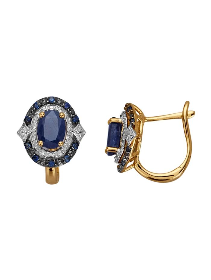 Amara Pierres colorées Boucles d'oreilles avec saphirs, Bleu