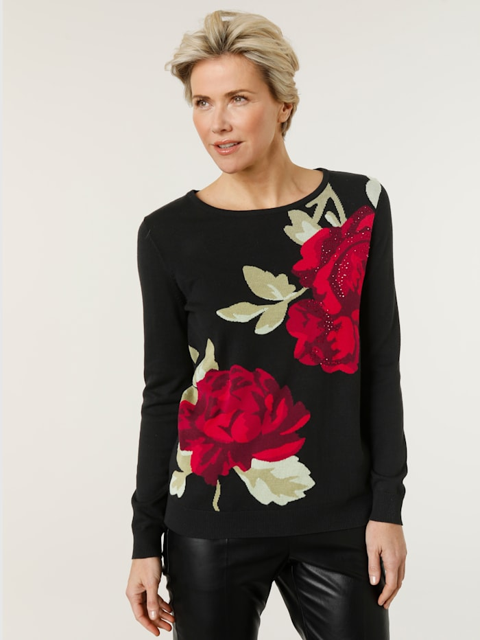 MONA Pullover mit Rosenmotiv und Strassapplikation, Schwarz/Rot/Grün