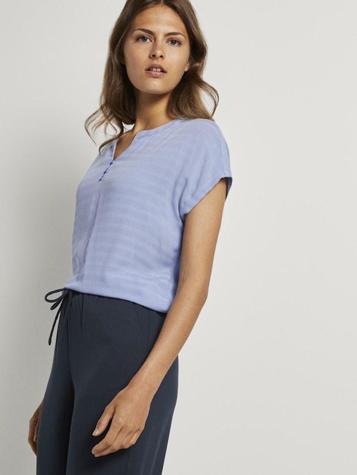 T-Shirt mit Henley-Ausschnitt im Materialmix