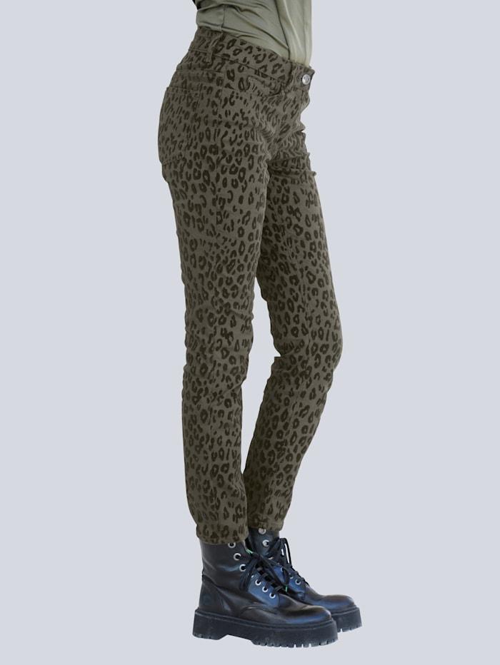 Alba Moda Jeans mit Leo-Dessin, Khaki