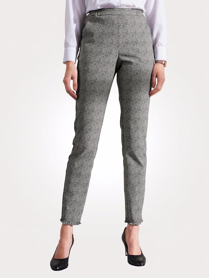 MONA Pantalon à base frangée mode, Noir/Blanc
