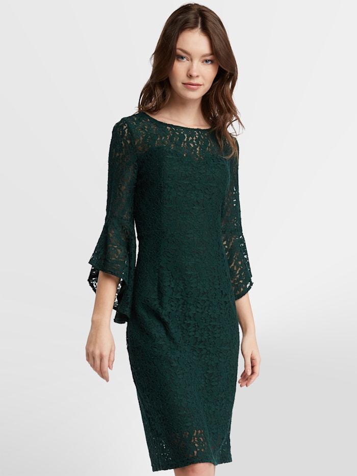 APART Kurzes Kleid aus Blumenspitze, tannengrün