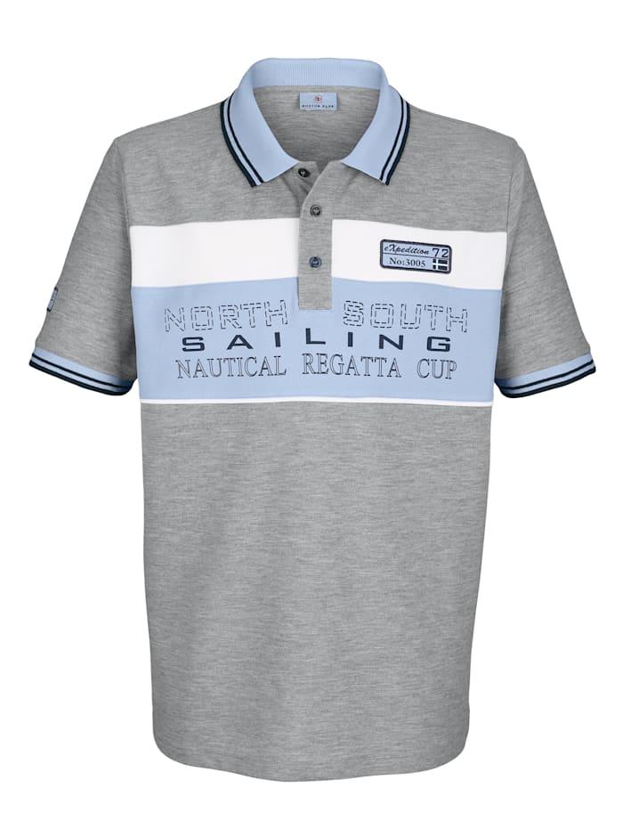 Boston Park Poloshirt mit Druck und Kontrastdetails, Hellgrau