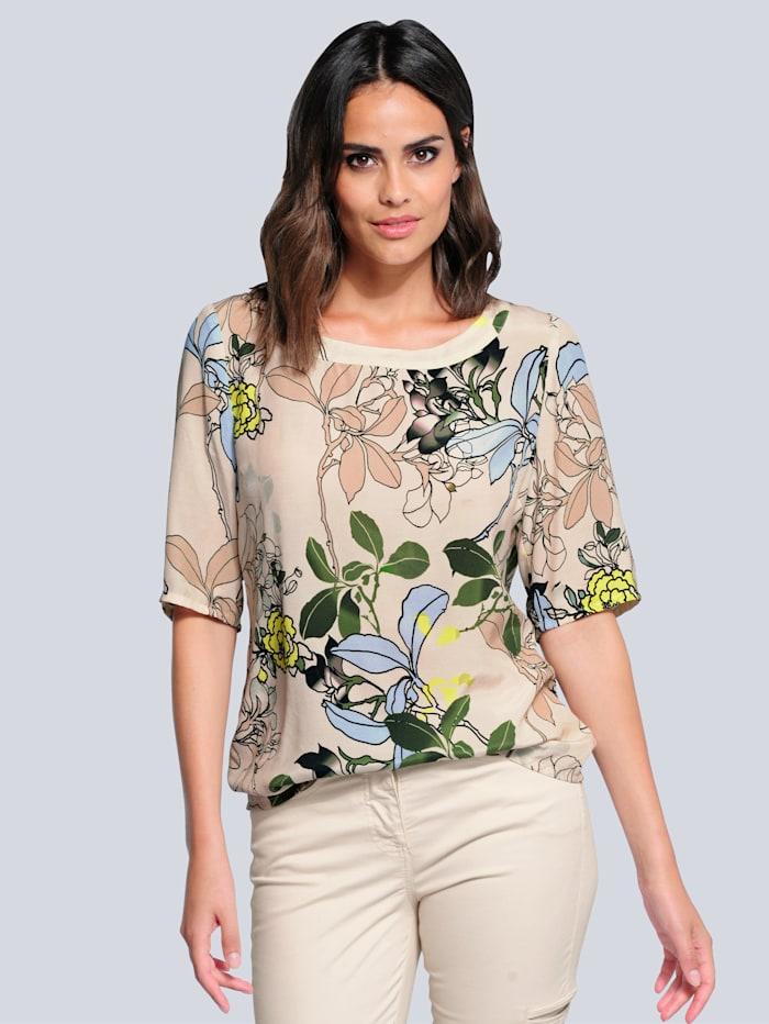 Alba Moda Blouse met contrastkleurig dessin, Zand/Lichtblauw