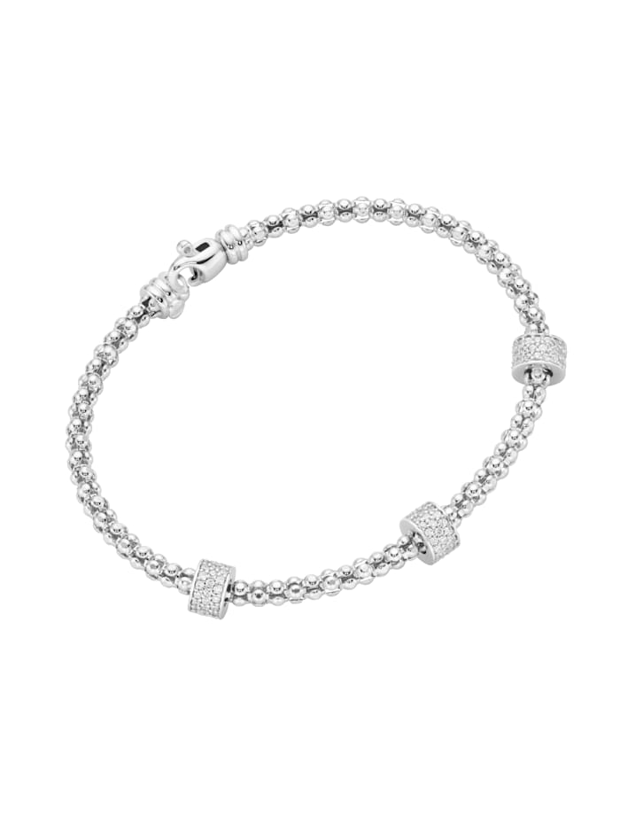 Smart Jewel Armspange Himbeerkettenoptik, Rondelle mit Zirkonia Steinen, Silber 925, Silber