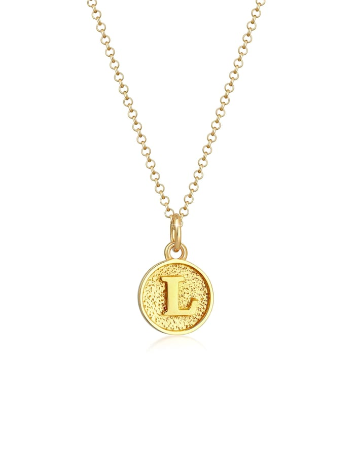 Elli Halskette Buchstabe L Initialen Vintage Plättchen 925 Silber, Gold