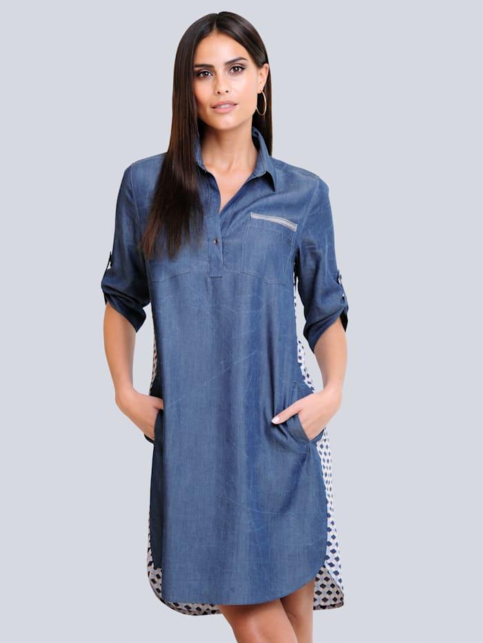 Alba Moda Kleid mit gemustertem Rückenteil, Blau/Weiß