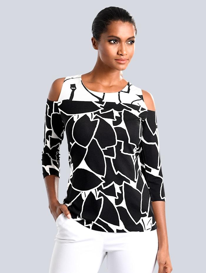 Alba Moda Shirt mit Schulter Cut-Outs, Schwarz/Weiß