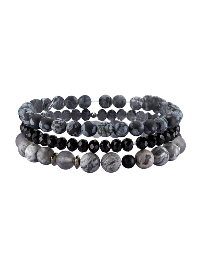 Set van 3 armbanden met agaten, Zwart
