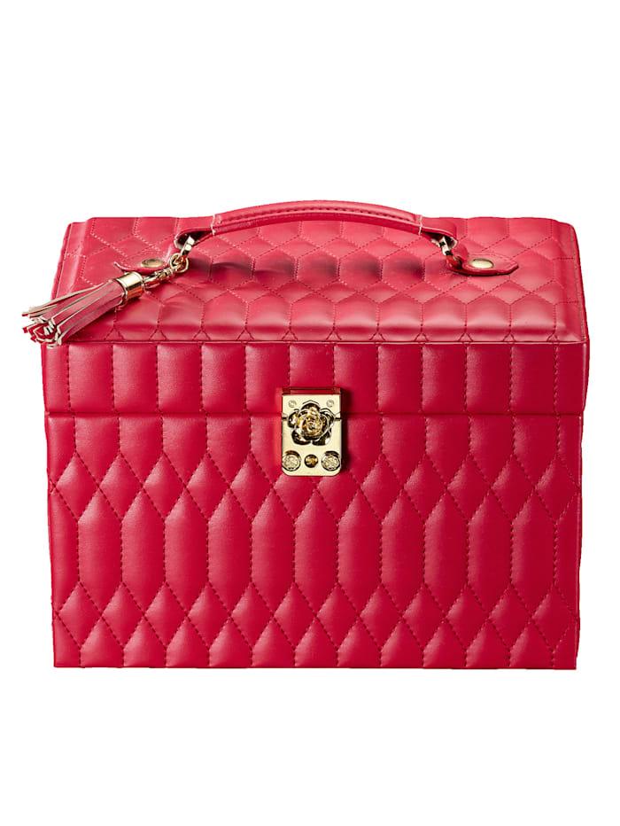 Golden Style Sieradenkoffer van rood imitatieleer, Rood