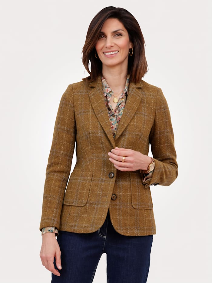 MONA Blazer with a classic check pattern, Mustard/Brown