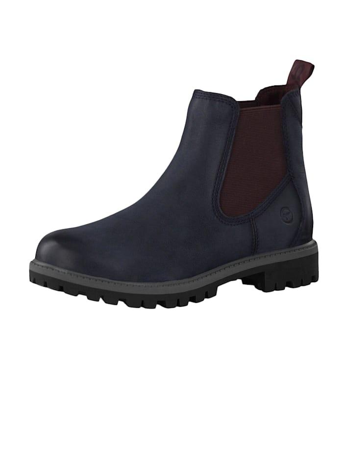 Tamaris 1-25401-23 817 Damen Stiefelette Chelsea Boots Navy/Bordeaux Blau mit TOUCH-IT Sohle, Navy/Bordeaux