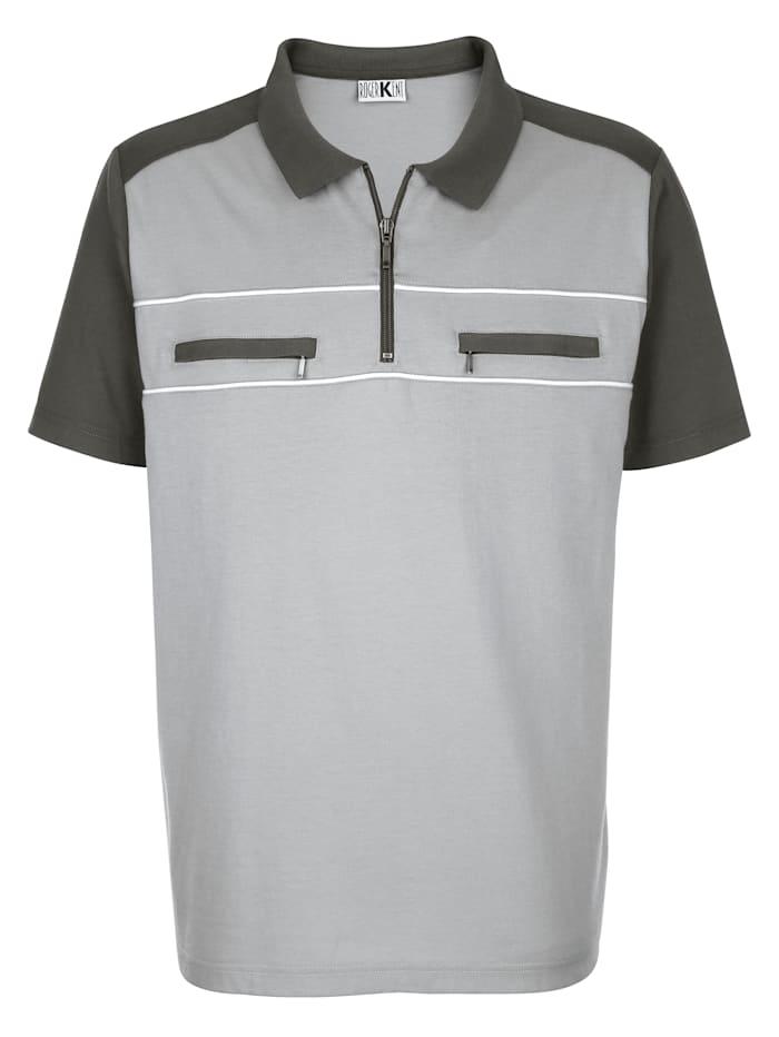Roger Kent Poloshirt van strijkarm materiaal, Zilvergrijs/Donkergrijs