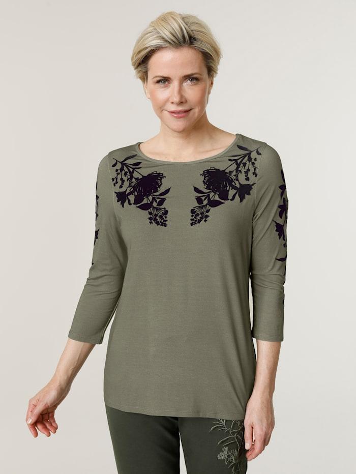 MONA Shirt mit tonigem Flockdruck, Oliv