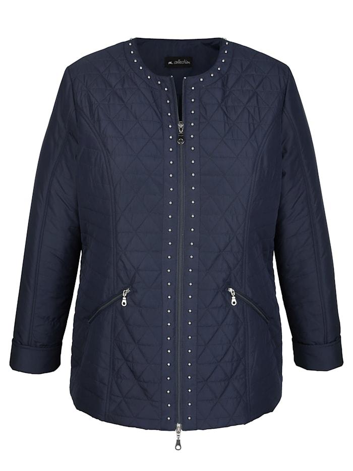 m. collection Gewatteerde jas met klinknageltjesdecoratie, Marine